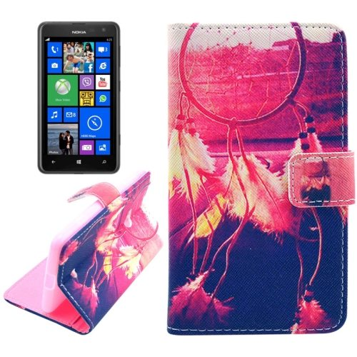 OEM Manufacturer PU Leather Mobile Phone Case Wallet Cover for Nokia Lumia 625 (Red Ring)