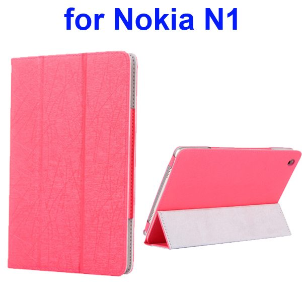 Silk Texture 3 Folding Pattern Flip Leather Case for Nokia N1 with Stand (Red)