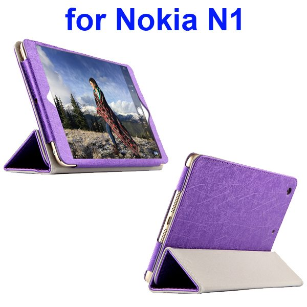 Silk Texture 3 Folding Pattern Flip Leather Case for Nokia N1 with Stand (Purple)
