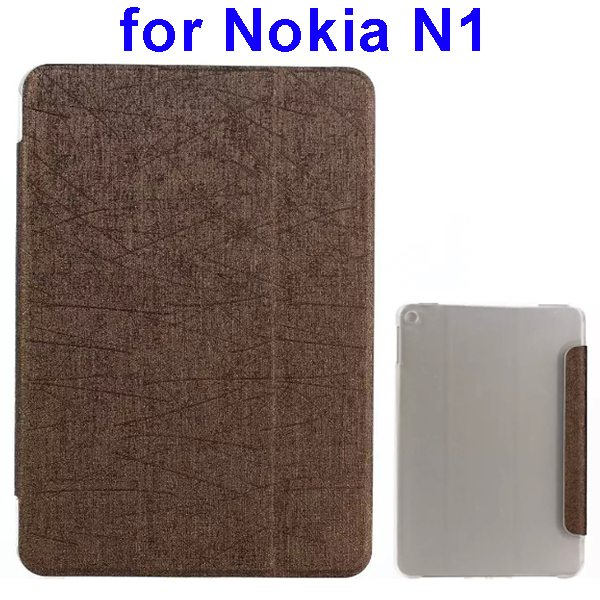 Silk Texture Three Folio Flip Leather Case for Nokia N1 with Stand (Brown)