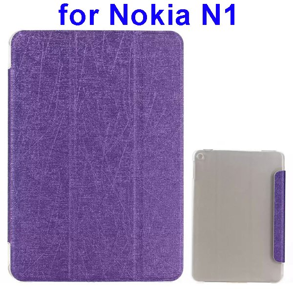 Silk Texture Three Folio Flip Leather Case for Nokia N1 with Stand (Purple)