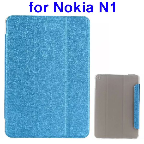 Silk Texture Three Folio Flip Leather Case for Nokia N1 with Stand (Light Blue)