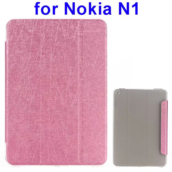 Silk Texture Three Folio Flip Leather Case for Nokia N1 with Stand (Pink)