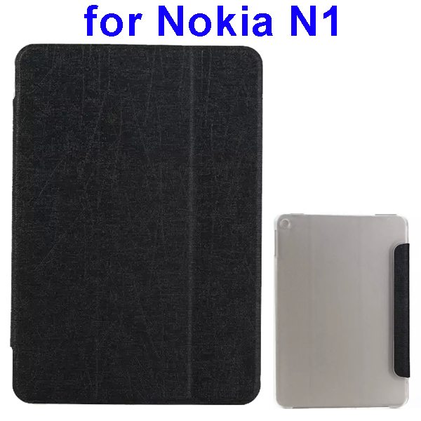 Silk Texture Three Folio Flip Leather Case for Nokia N1 with Stand (Black)
