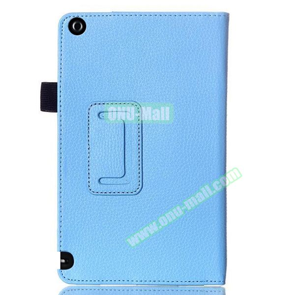 2 Folding Litchi Pattern Leather Flip Cover for Nvidia Shield Tablet 8 (Blue)