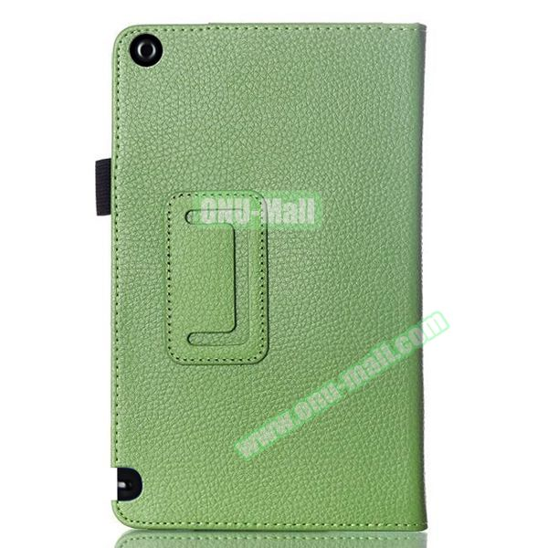 2 Folding Litchi Pattern Leather Flip Cover for Nvidia Shield Tablet 8 (Green)