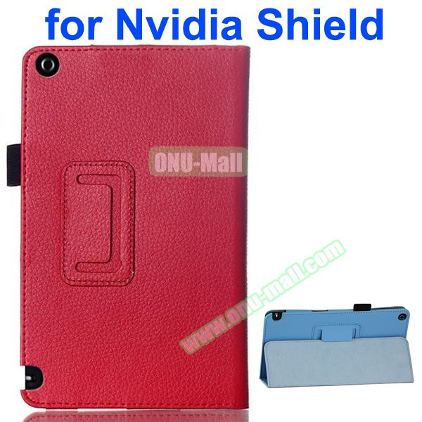 2 Folding Litchi Pattern Leather Flip Cover for Nvidia Shield Tablet 8 (Red)