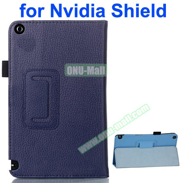 2 Folding Litchi Pattern Leather Flip Cover for Nvidia Shield Tablet 8 (Dark Blue)