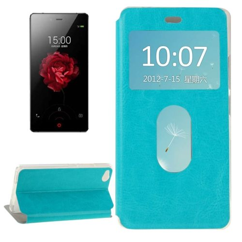 Horizontal Flip Solid color Leather Case for ZTE nubia Z9 mini with Call Display ID and holder (Blue)