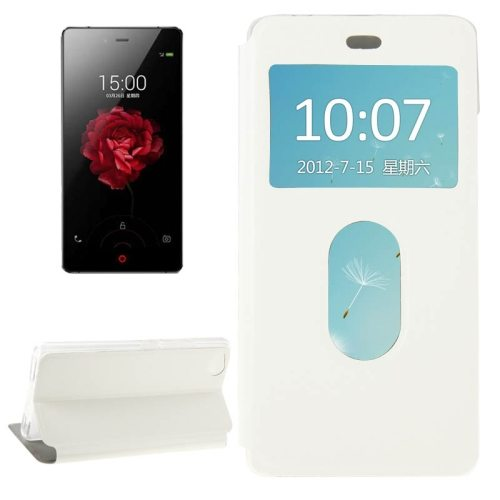 Horizontal Flip Solid color Leather Case for ZTE nubia Z9 mini with Call Display ID and holder (White)