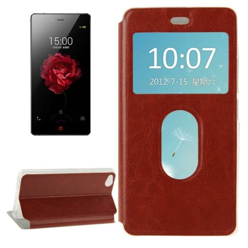 Horizontal Flip Solid color Leather Case for ZTE nubia Z9 mini with Call Display ID and holder (Brown)