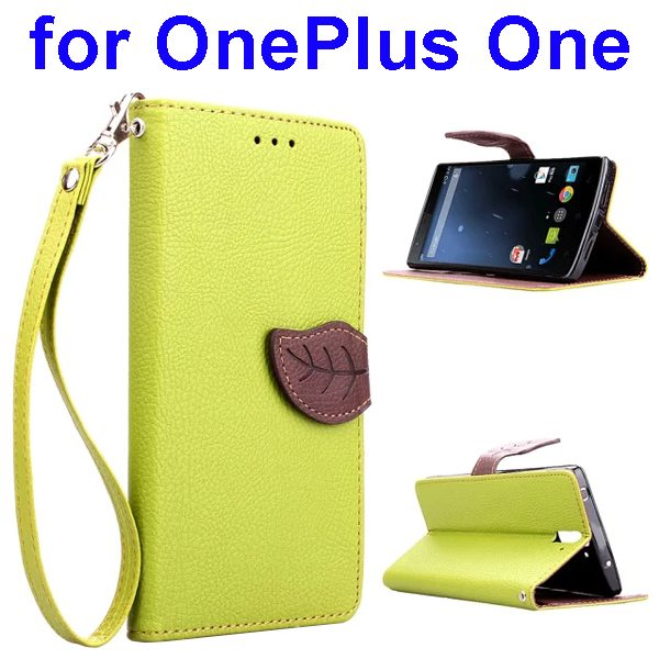 Leaf Pattern Flip PU Leather Wallet Case for OnePlus One with Lanyard (Lime)