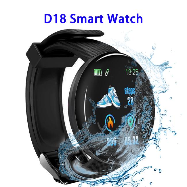 1.3 inch TFT D18 Sport Fitness Tracker Wristband Smart Bracelet Watch Band(Black)