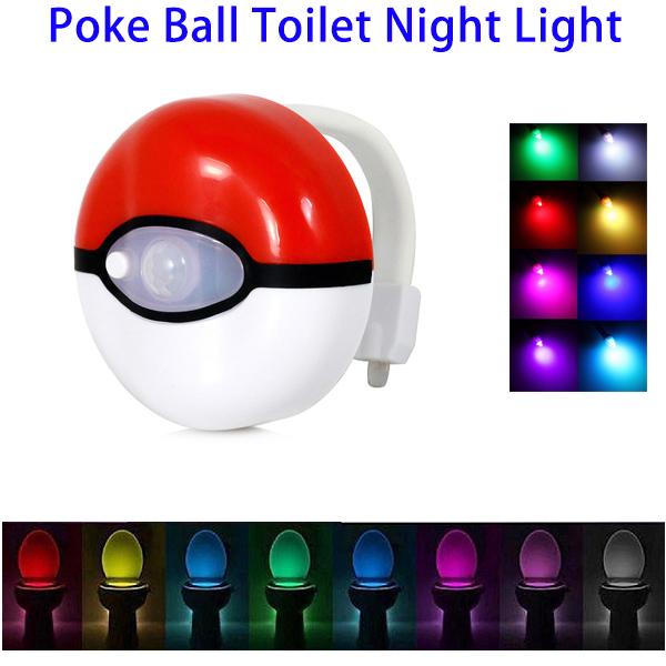 Pokemon Poke Ball LED Motion Sensor 8-colors Toilet Night Light (Red)