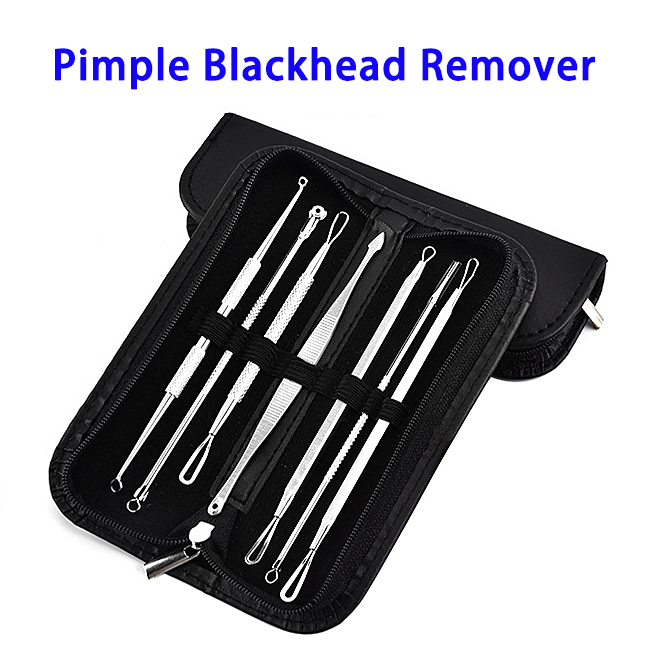 Pimple Tweezer Blemish Extractor Blackhead Remover Tool Kit With Leather Case