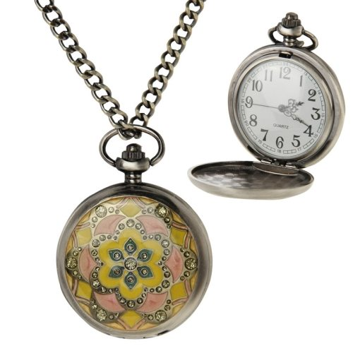 Retro Flower Pattern Quartz Movement Pocket Watch with Hanging Chain (Black)