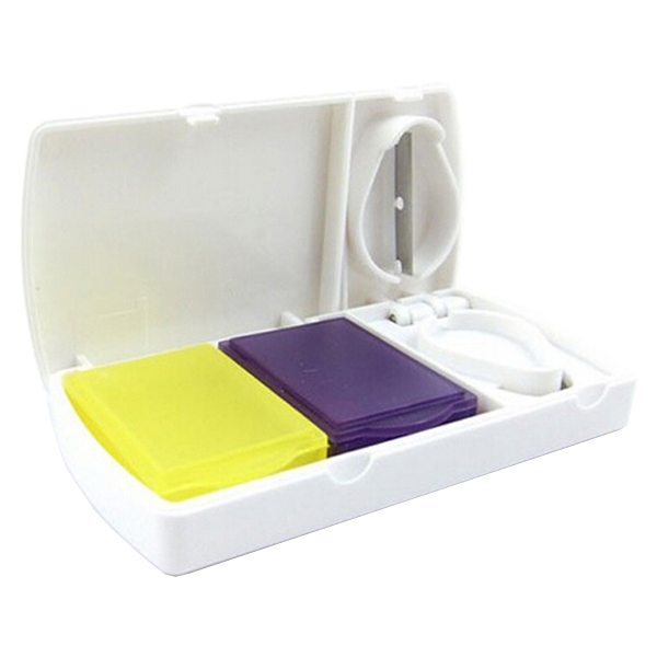 Square Pattern Portable Medicine Organizer Pill Case with Two Colorful Pill Boxes and Pill Cutter