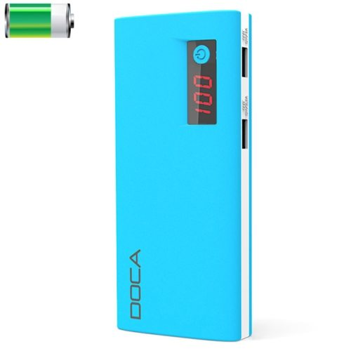 DOCA D566 II 13000mAh Rechargeable High Capacity Universal Power Bank with Dual USB Ports (Blue)