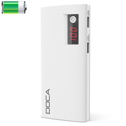 DOCA D566 II 13000mAh Rechargeable High Capacity Universal Power Bank with Dual USB Ports (White)