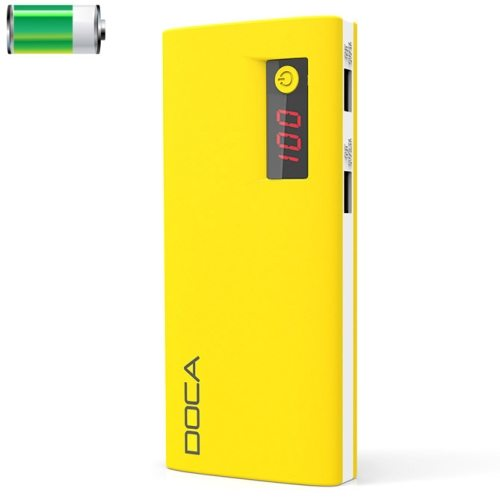 DOCA D566 II 13000mAh Rechargeable High Capacity Universal Power Bank with Dual USB Ports (Yellow)