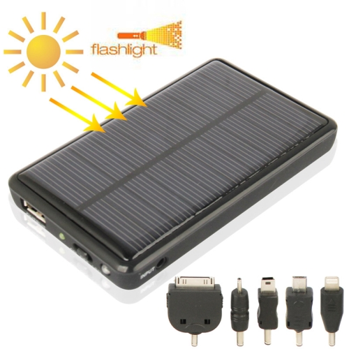 5000mAh Mobile Phone Portable Solar Power Bank with Solar Charger & LED Flash Light for Samsung / Nokia Lumia / Sony Xperia etc. (Black)