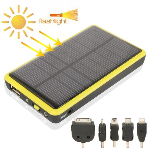 5000mAh Mobile Phone Portable Solar Power Bank with Solar Charger & LED Flash Light for Samsung / Nokia Lumia / Sony Xperia etc. (Yellow)