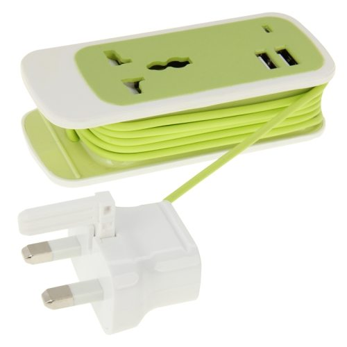 1.5M Cable Length 2.1A Output 3 in 1 Dual USB Universal Power Socket with UK Plug (Green)