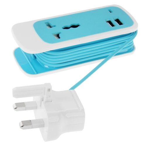 1.5M Cable Length 2.1A Output 3 in 1 Dual USB Universal Power Socket with UK Plug (Blue)