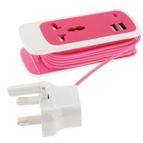 1.5M Cable Length 2.1A Output 3 in 1 Dual USB Universal Power Socket with UK Plug (Rose)