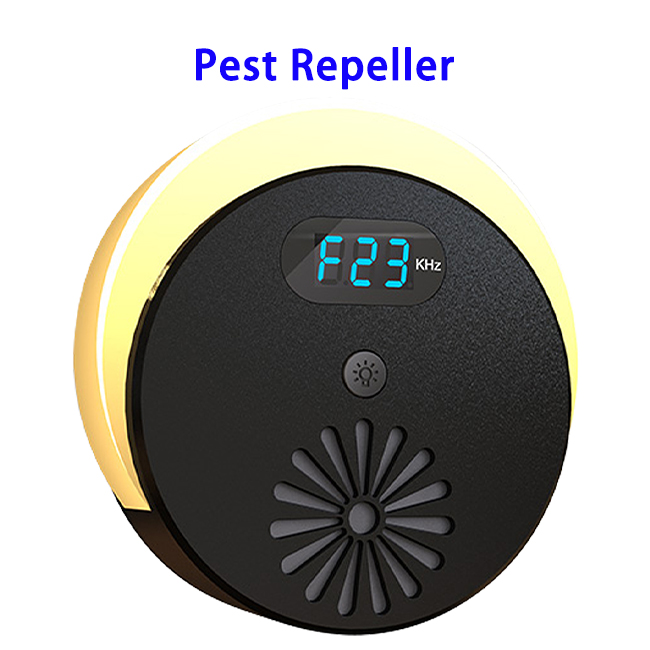 CE FCC Approved HD Display Intelligent Brightness Ultrasonic Pest Repeller (Black)