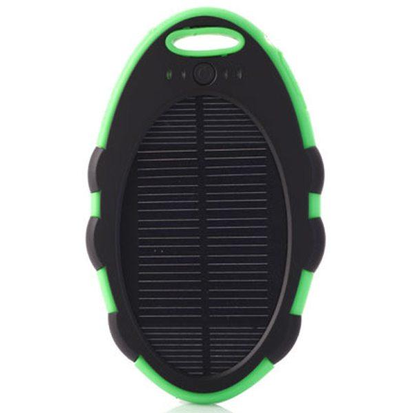 Cute Shape Sporty Waterproof Shockproof Anti-drop 5000 mAh Solar Power Bank (Black+ Green)