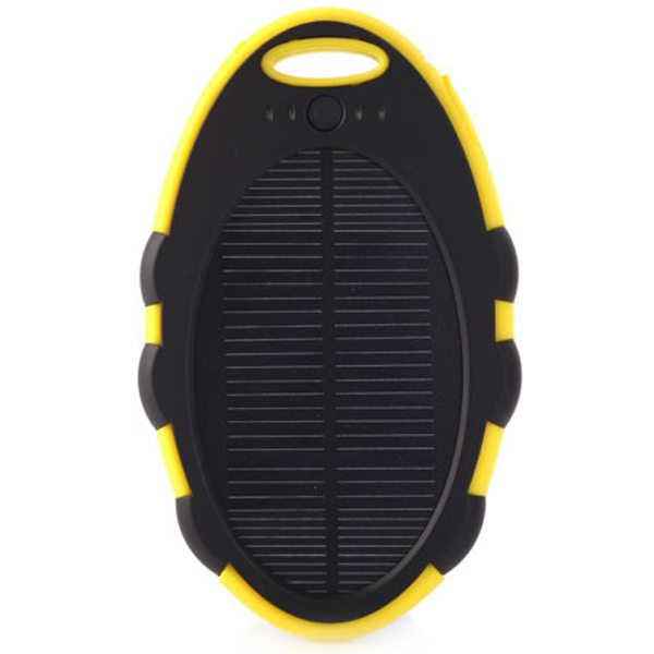 Cute Shape Sporty Waterproof Shockproof Anti-drop 5000 mAh Solar Power Bank (Black+Yellow)