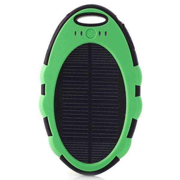 Cute Shape Sporty Waterproof Shockproof Anti-drop 5000 mAh Solar Power Bank (Green+Black)