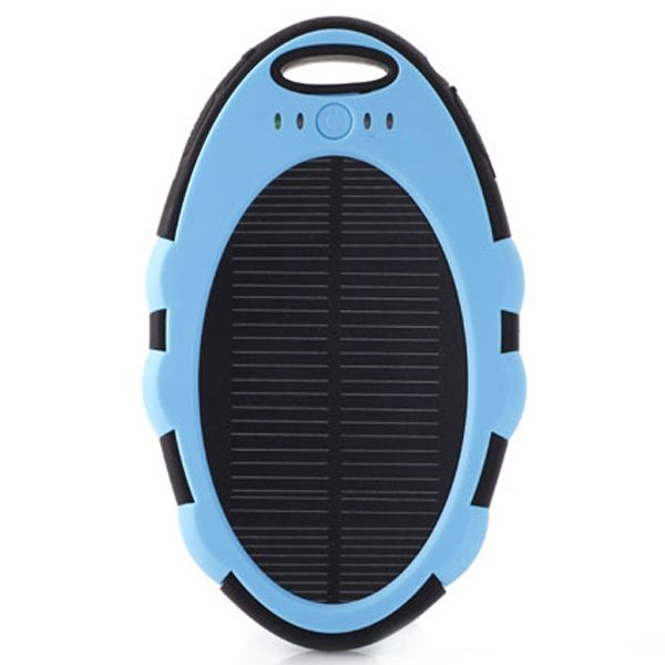 Cute Shape Sporty Waterproof Shockproof Anti-drop 5000 mAh Solar Power Bank (Blue+Black)