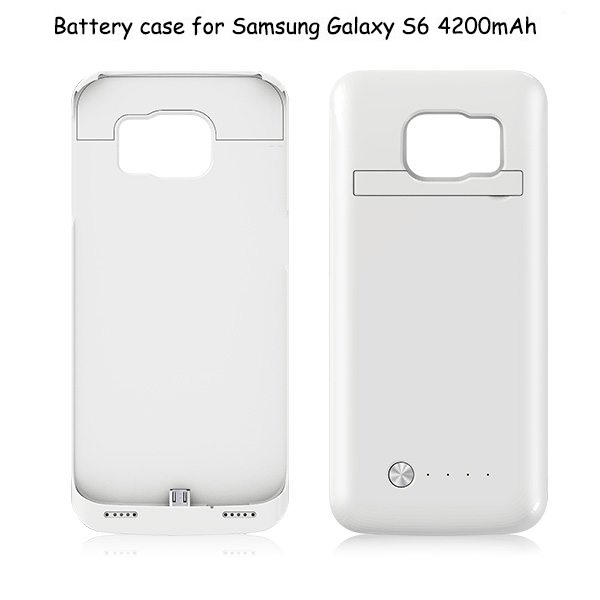 4200mAh Rechargeable External Backup Battery Case for Samsung GALAXY S6 with Kickstand (White)