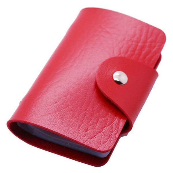 Business Type PU Leather Card Holder Wallet with 24 Card Slots (Red)