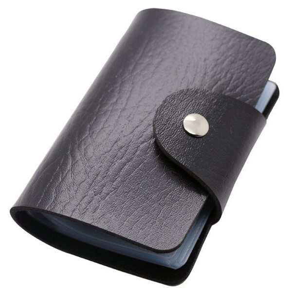 Business Type PU Leather Card Holder Wallet with 24 Card Slots (Black)