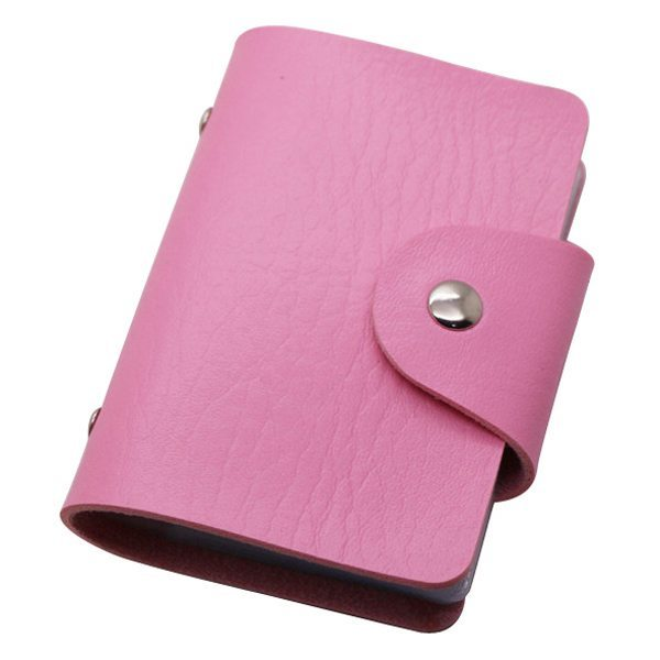 Business Type PU Leather Card Holder Wallet with 24 Card Slots (Pink)