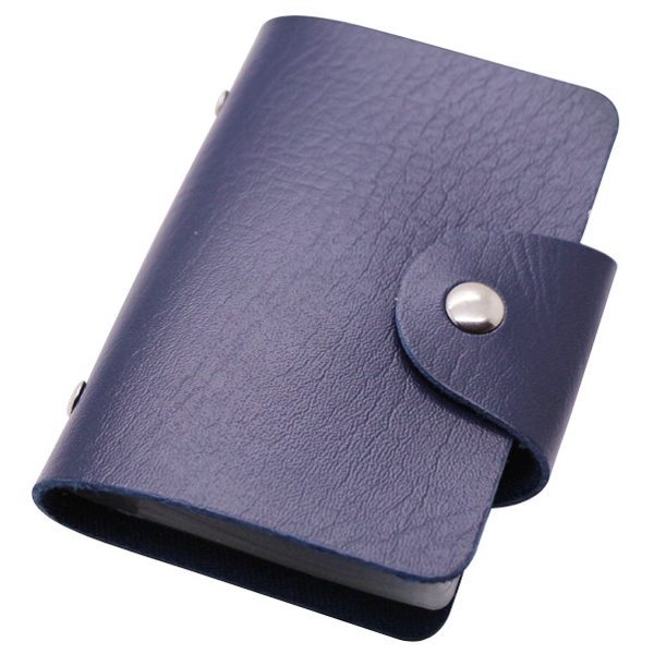 Business Type PU Leather Card Holder Wallet with 24 Card Slots (Dark Blue)