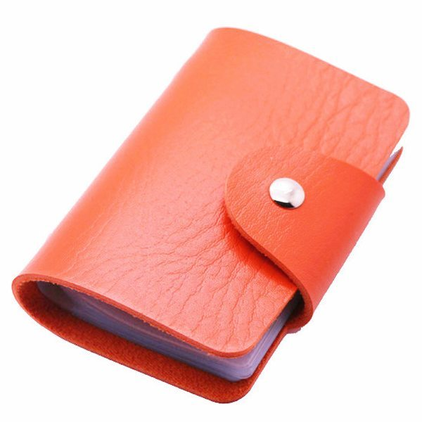 Business Type PU Leather Card Holder Wallet with 24 Card Slots (Orange)