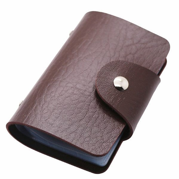 Business Type PU Leather Card Holder Wallet with 24 Card Slots (Coffee)