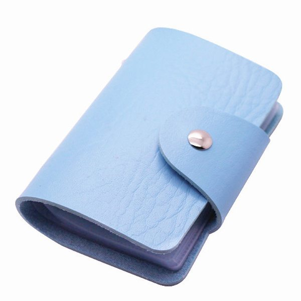 Business Type PU Leather Card Holder Wallet with 24 Card Slots (Baby Blue)