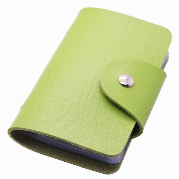 Business Type PU Leather Card Holder Wallet with 24 Card Slots (Green)