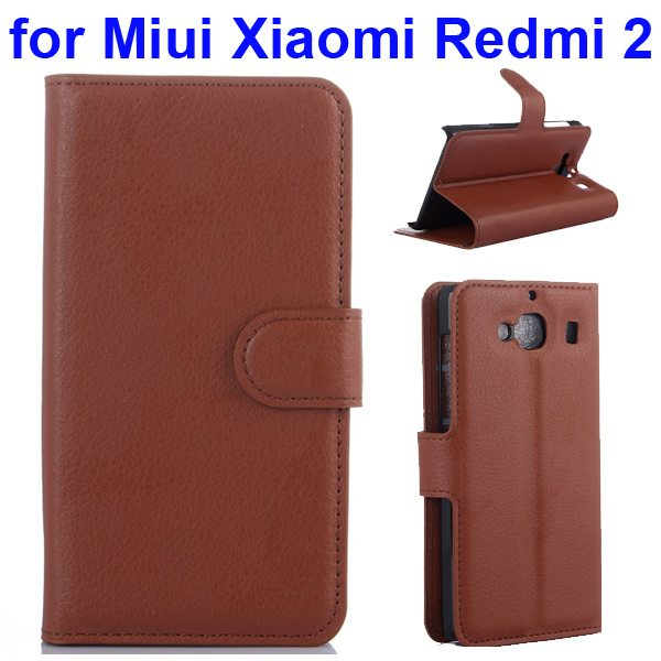 New Arrival Litchi Texture Wallet Flip Leather Cover for Miui Xiaomi Redmi 2 with Card Slots (Brown)