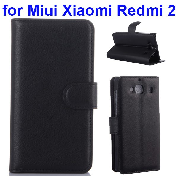 New Arrival Litchi Texture Wallet Flip Leather Cover for Miui Xiaomi Redmi 2 with Card Slots (Black)