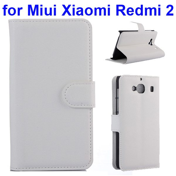 New Arrival Litchi Texture Wallet Flip Leather Cover for Miui Xiaomi Redmi 2 with Card Slots (White)