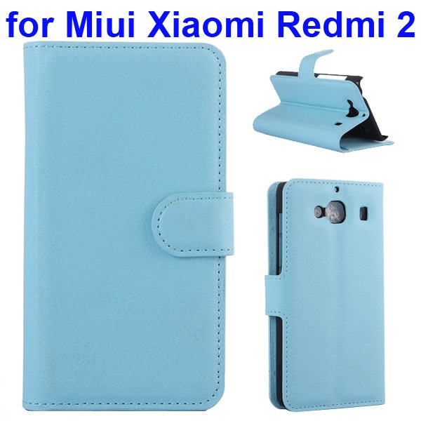 New Arrival Litchi Texture Wallet Flip Leather Cover for Miui Xiaomi Redmi 2 with Card Slots (Baby Blue)