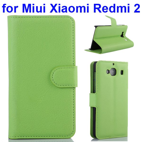 New Arrival Litchi Texture Wallet Flip Leather Cover for Miui Xiaomi Redmi 2 with Card Slots (Green)