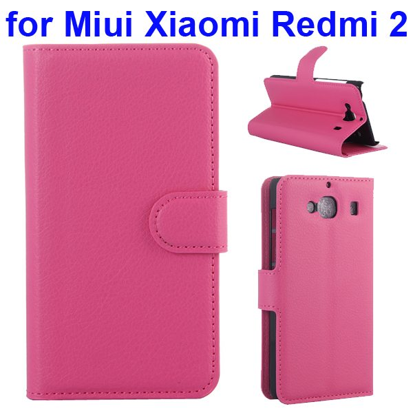 New Arrival Litchi Texture Wallet Flip Leather Cover for Miui Xiaomi Redmi 2 with Card Slots (Rose)