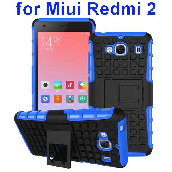 2 In 1 Pattern Silicone and PC Rugged Hybrid Case for Miui Xiaomi Redmi 2 with Kickstand (Blue)